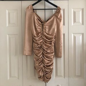 Champagne ruched long sleeve mini dress. Brand New